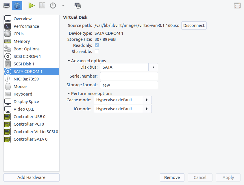 Virtual machine driver CD configuration in virt-manager