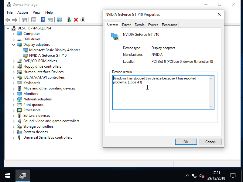 NVIDIA GT 710 displaying a Code 43 error in Device Manager