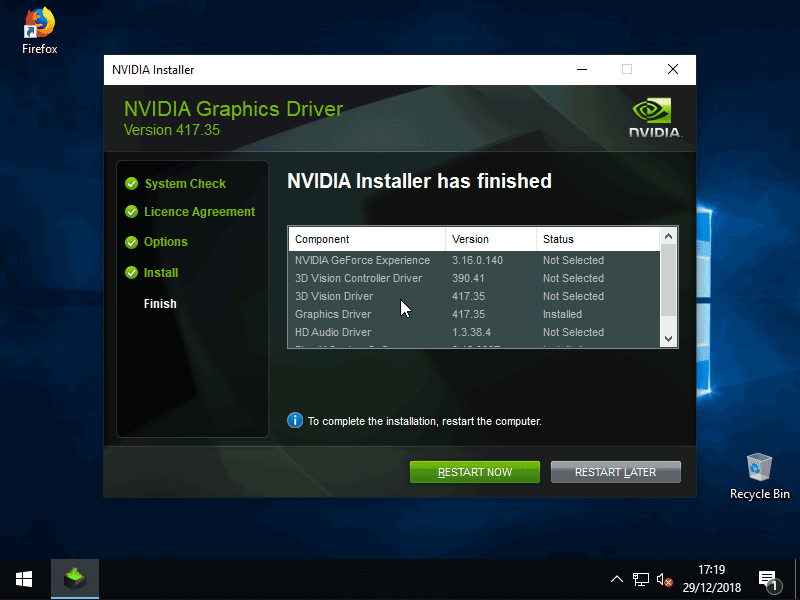 Successful installation of NVIDIA drivers