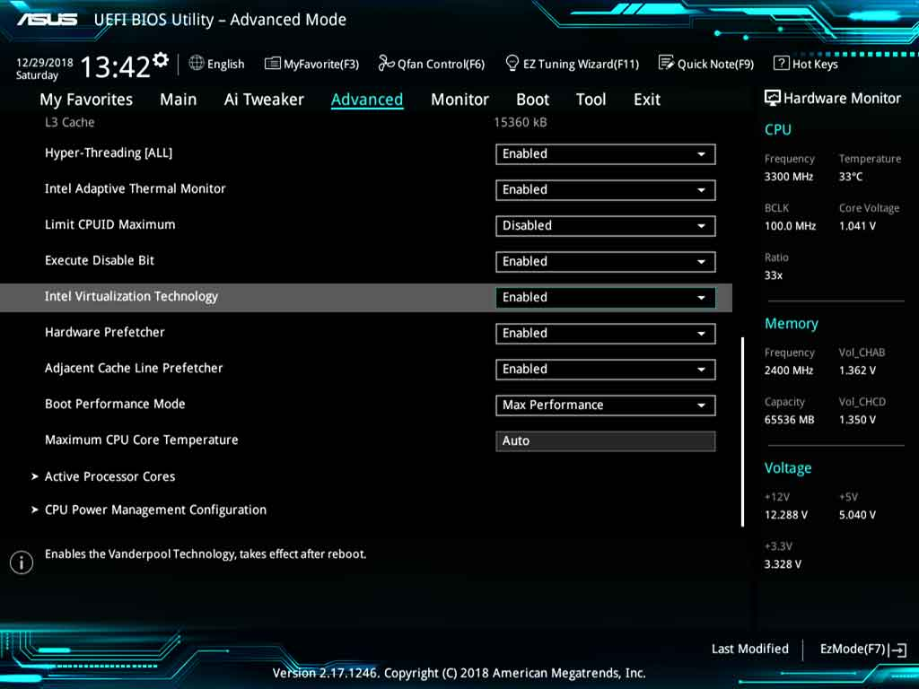 Enabling hardware virtualization in ASUS UEFI BIOS utility.