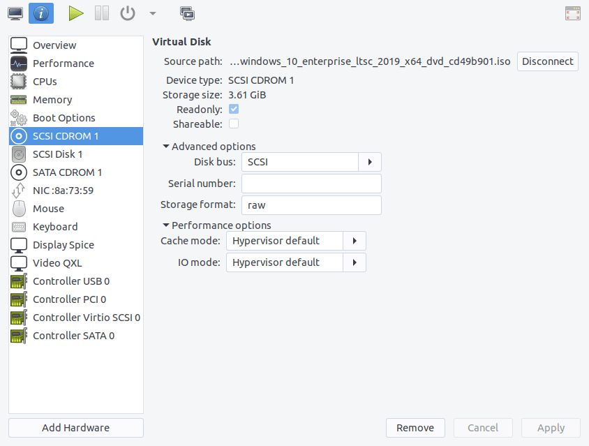 Virtual machine installation CD configuration in virt-manager