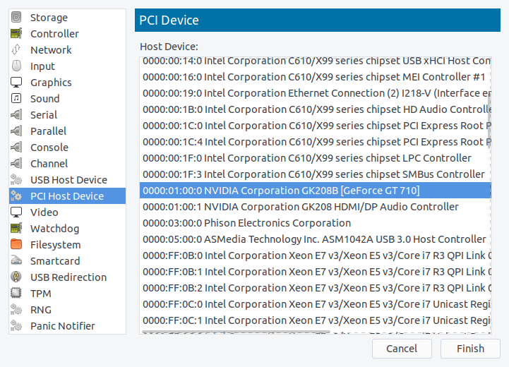 Adding a GT 710 as a PCI host device in virt-manager