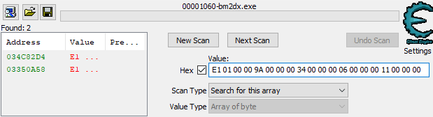 Array of Byte scan in Cheat Engine
