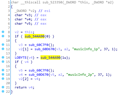 IDA pseudo-code of a music information function