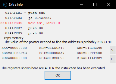 Extra info dialog in Cheat Engine