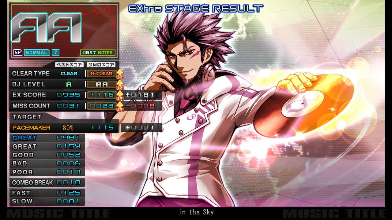beatmania IIDX INFINITAS result screen