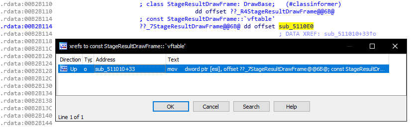 Cross-reference list window in IDA