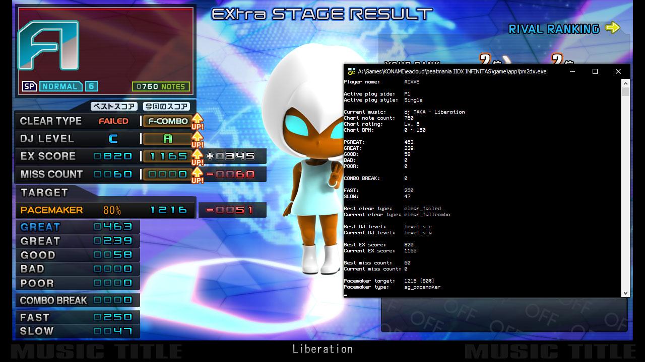 beatmania IIDX INFINITAS result screen