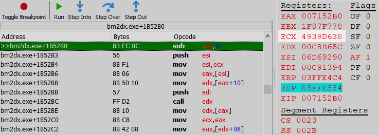 Cheat Engine debugger at a breakpoint