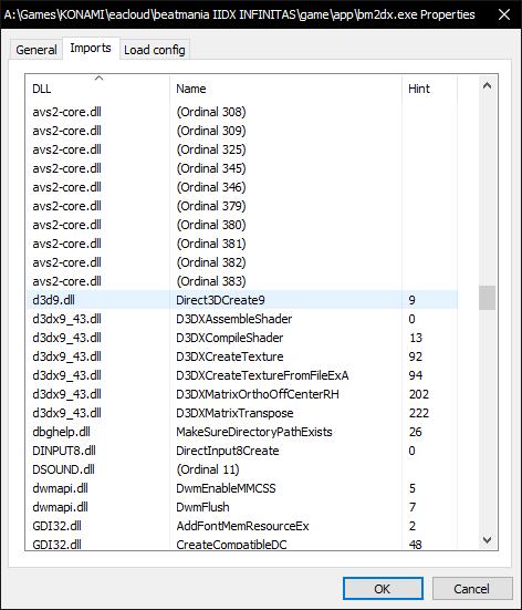 PE viewer imports tab