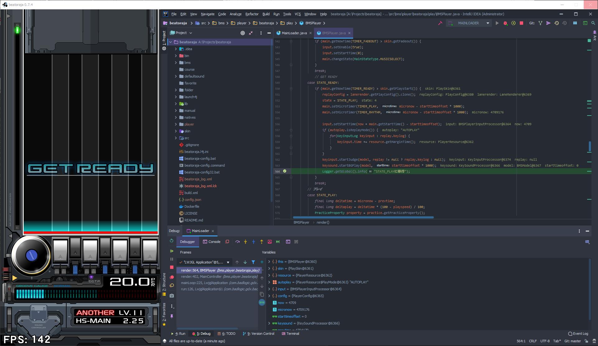 IntelliJ IDEA debugging beatoraja at a breakpoint