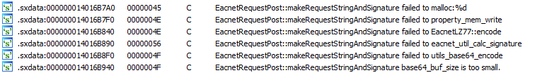 Eacnet request messages in the IDA strings view