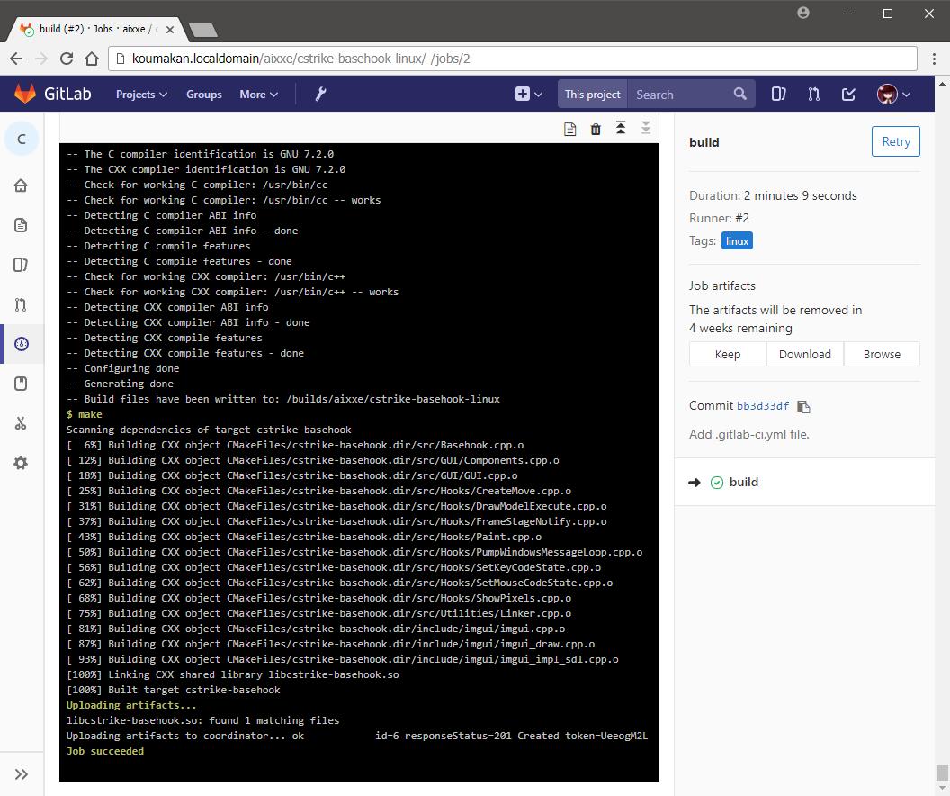 GitLab CI job log on Linux