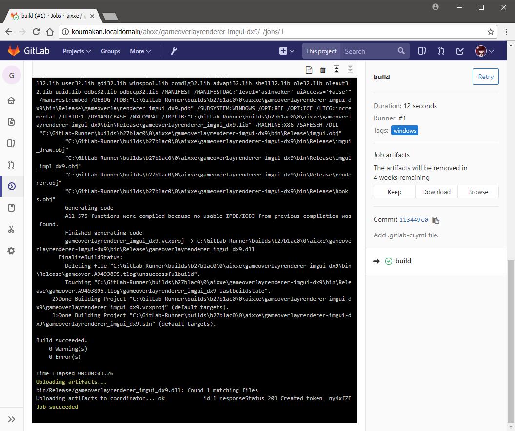 GitLab CI job log on Windows