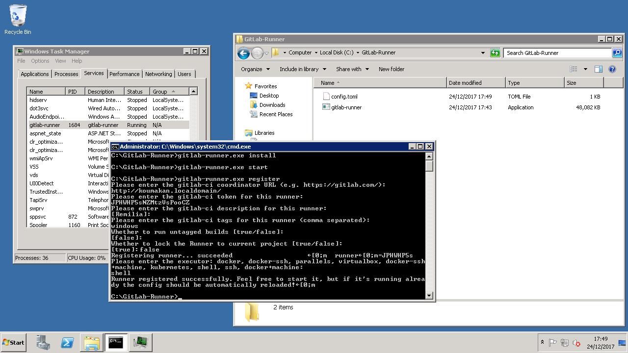 GitLab runner registration on Windows.