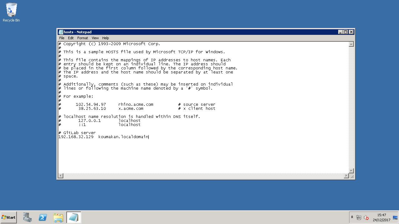Windows hosts file