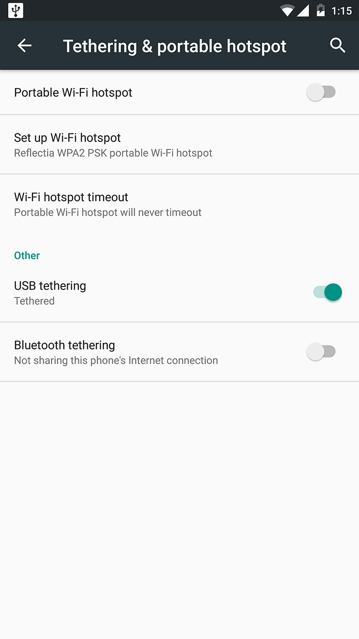 USB tethering on Android 6.0